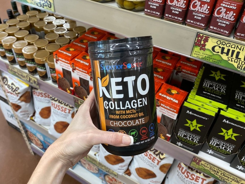 holding keto collagen at Trader Joe's