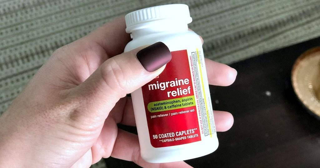migraine relief medication pill bottle