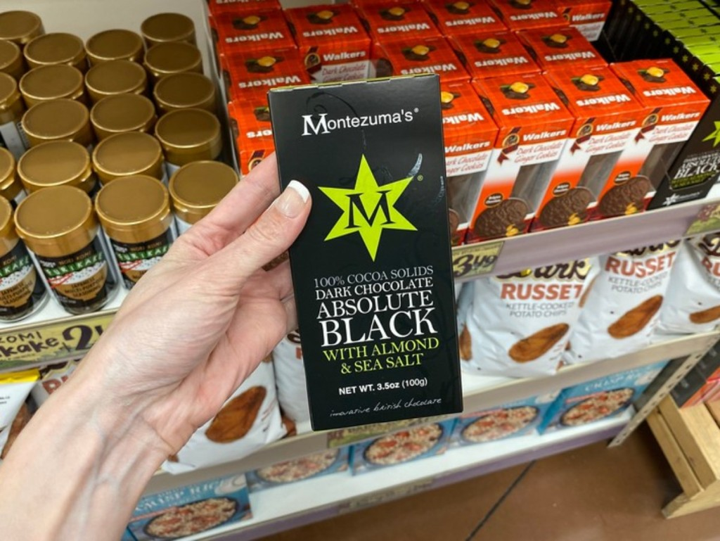 holding box of Montezuma's chocolate