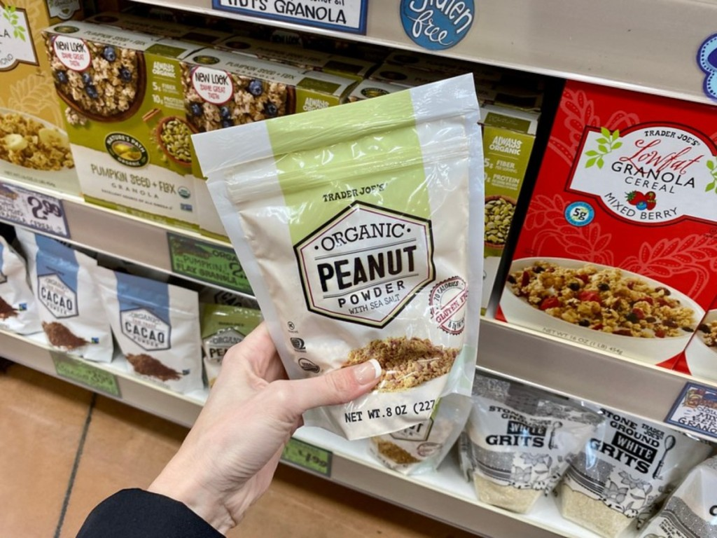 holding Trader Joe's Organic Peanut Powder