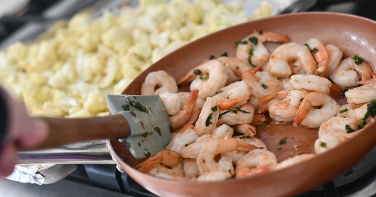 keto shrimp scampi in browned butter sauce