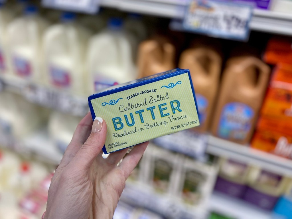 holding butter at Trader Joe's