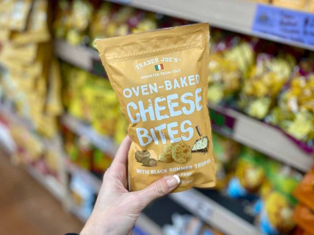holding truffle cheese bites at Trader Joe's