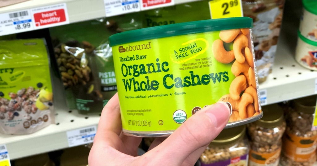 organic cashews in can, surprising part of high carb foods