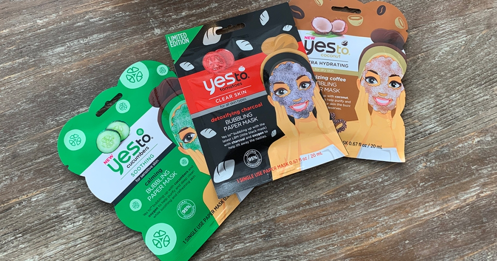 assortment of yes to face masks on table