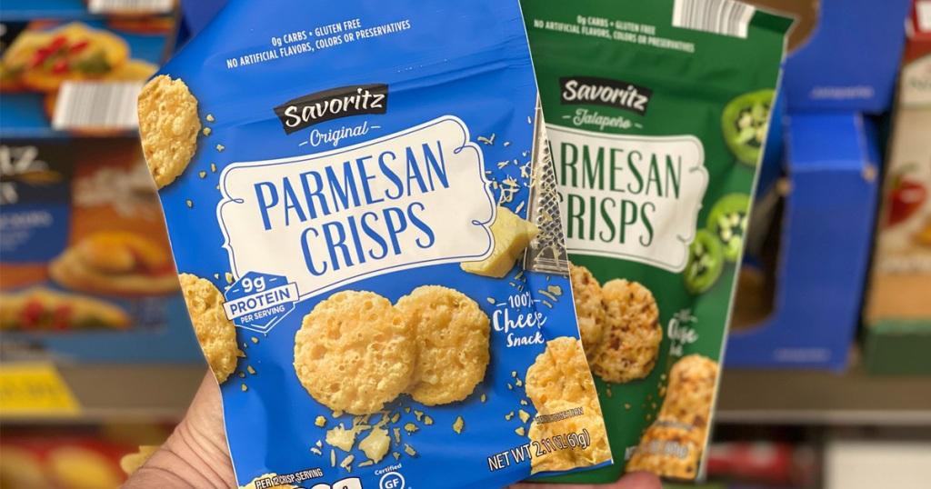 Bags of Aldi Parmesan Cheese Crisps