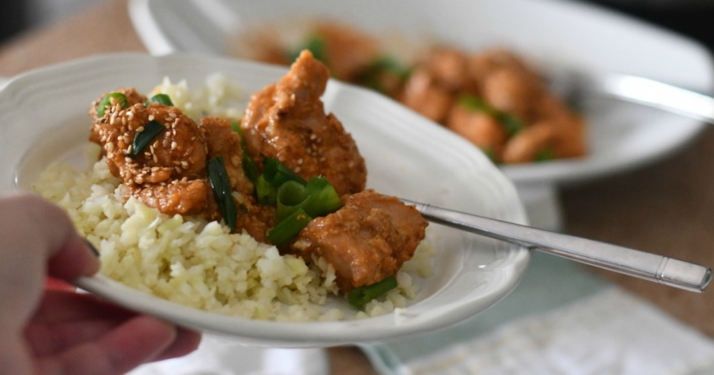 general tso's chicken with cauliflower rice