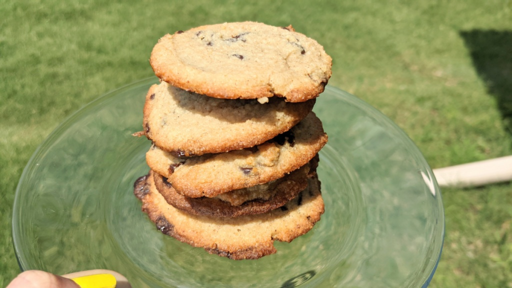 plate of the best keto chocolate chip cookies