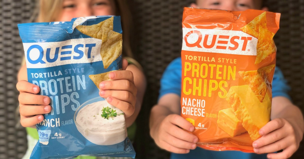 kids holding out bags of Quest protein chips