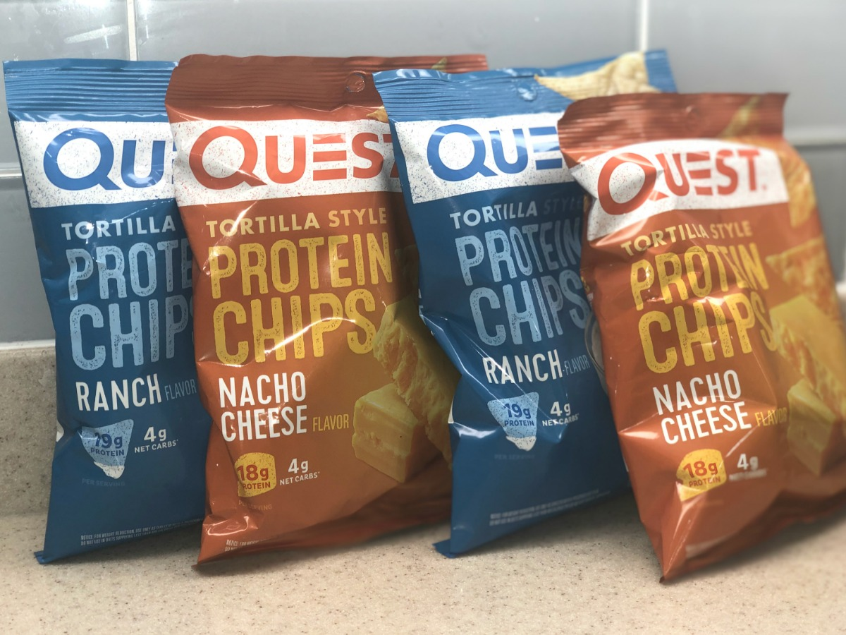 four bags of Quest protein chips lined up