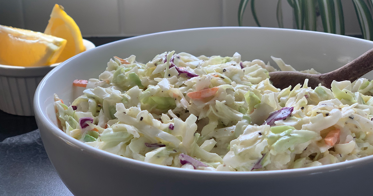 bowl of keto coleslaw