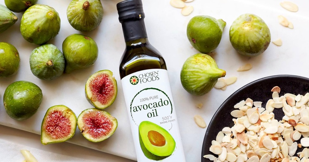 chosen foods avocado oil on table with food