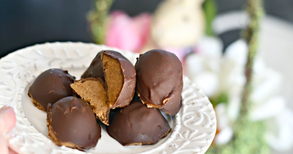 plated easter chocolate covered almond butter eggs