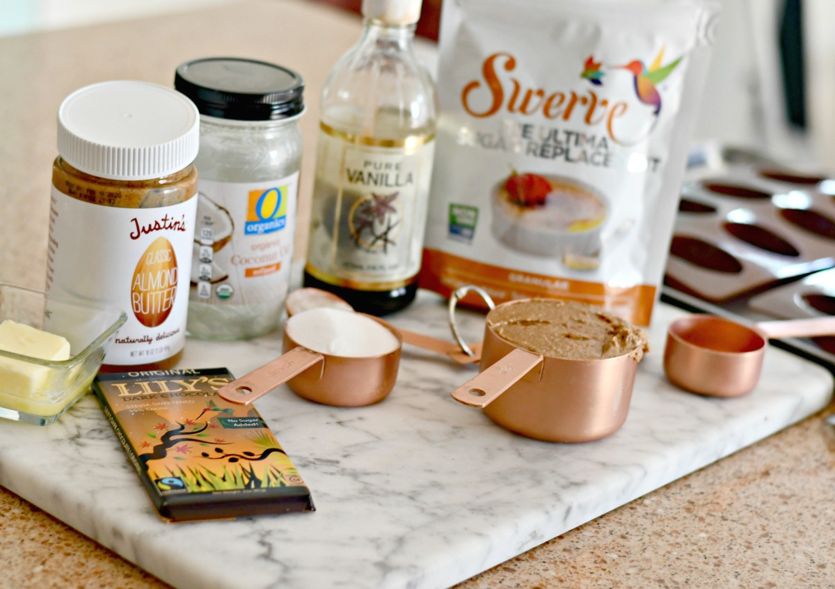 ingredients for keto chocolate eggs on the counter