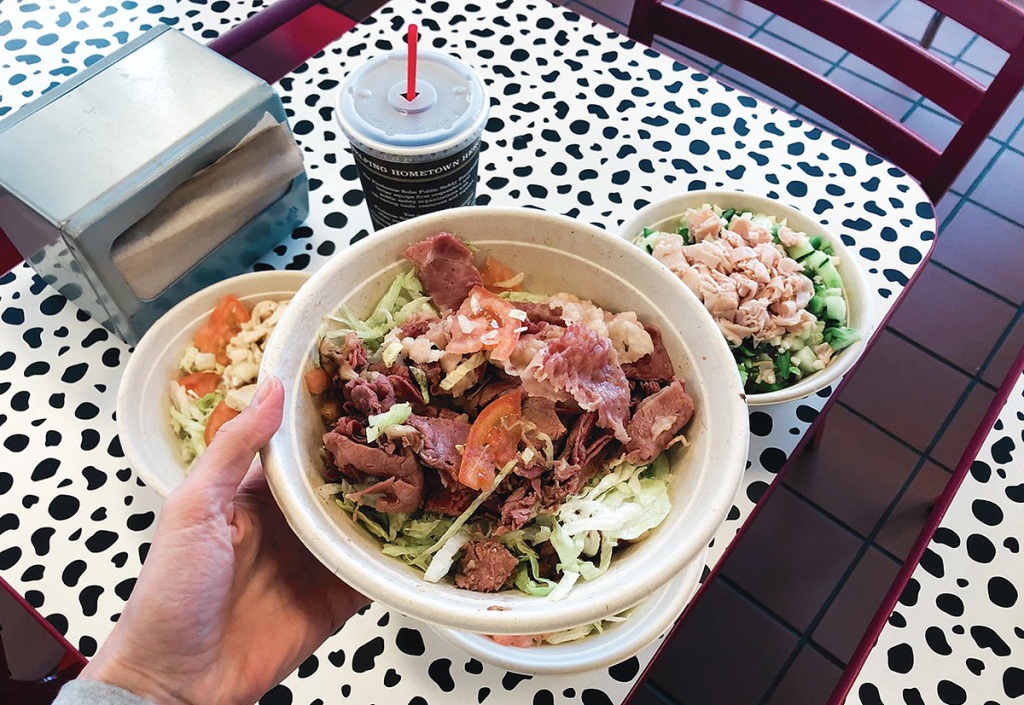 sandwich salad in a bowl
