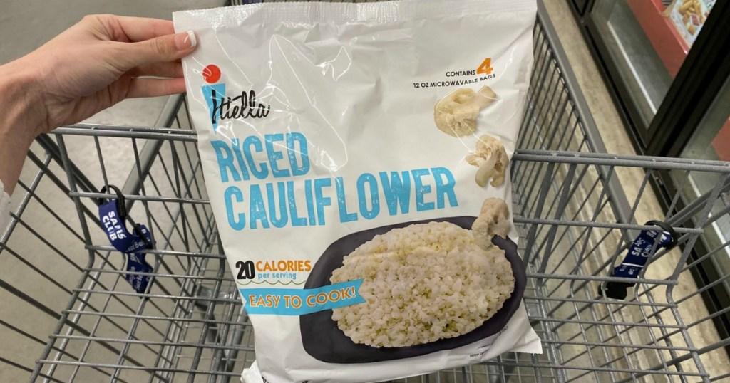 big bag of riced cauliflower at Sam's Club