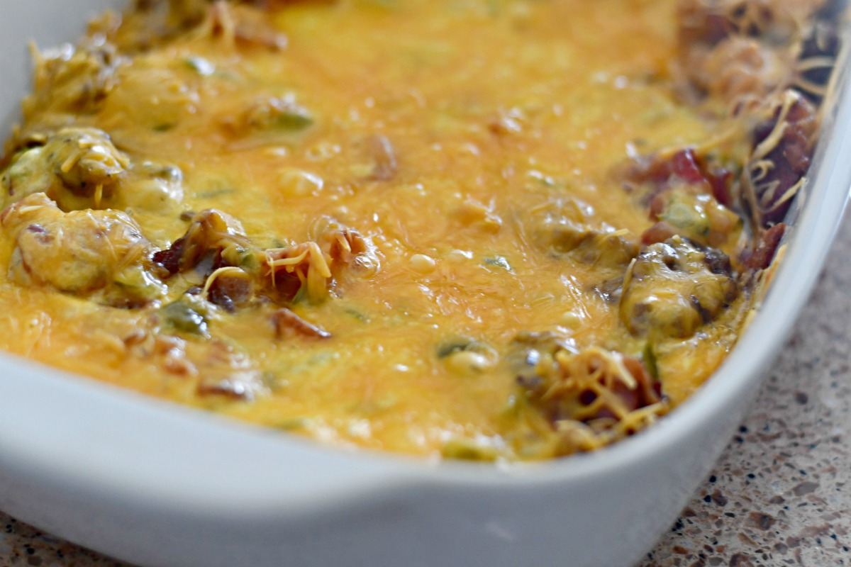keto cheeseburger casserole after baking