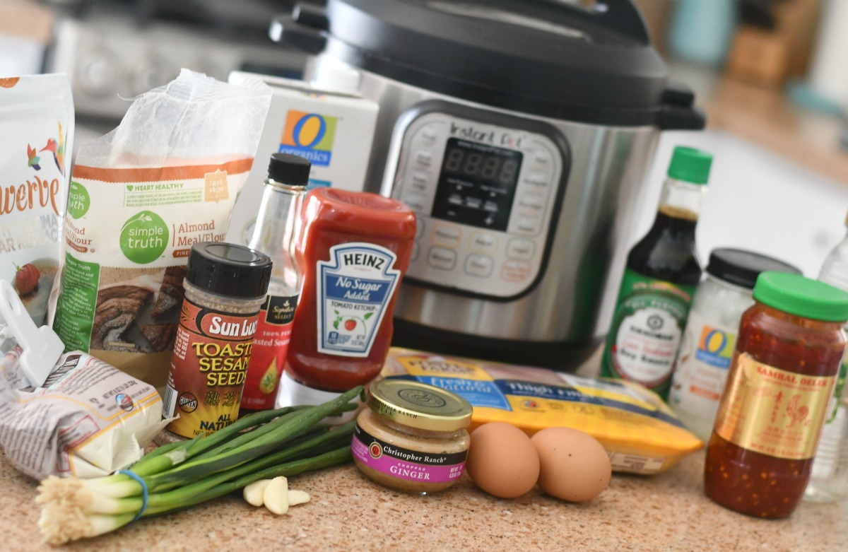 supplies on counter to make general tso's chicken in the instant pot