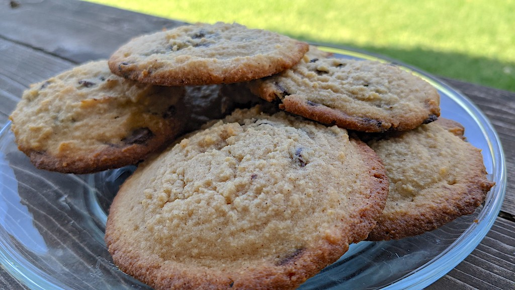 keto chocolate chip cookies on plate