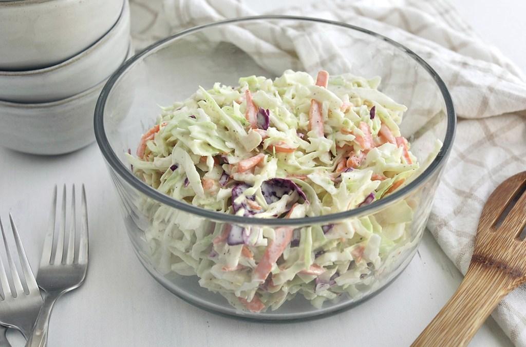 keto coleslaw in a bowl