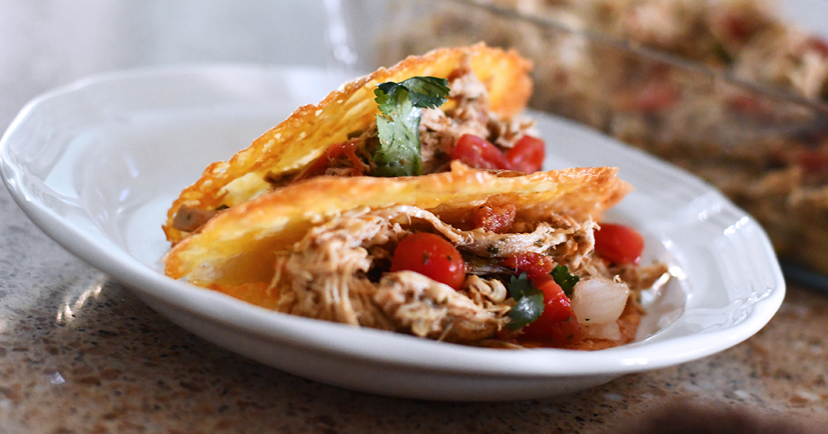 keto shredded chicken tacos on plate