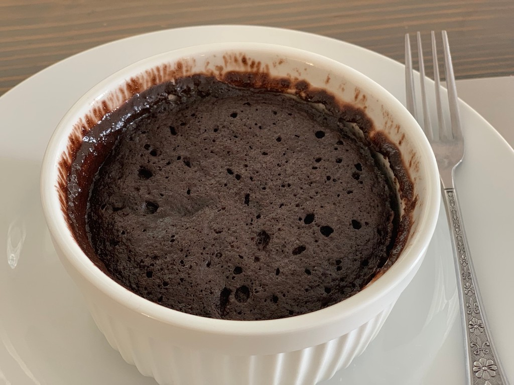 mini keto chocolate cake in ramekin
