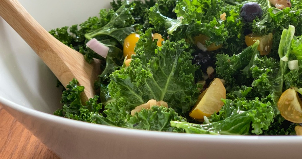 a close up view of massaged kale superfood salad