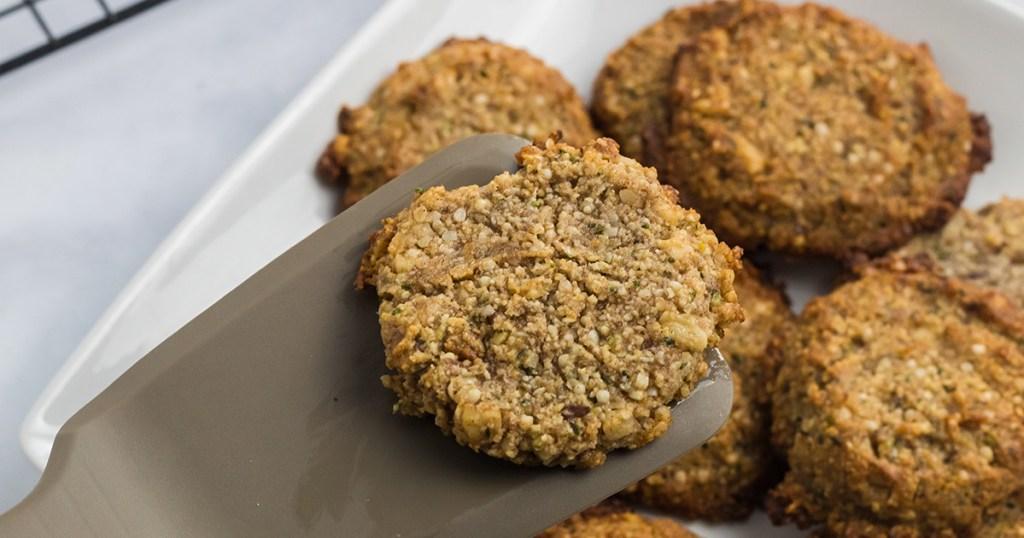 keto oatmeal cookies on spatula