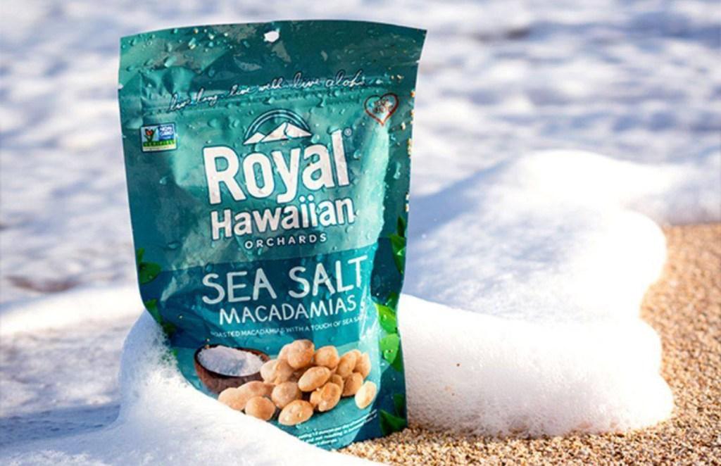 royal hawaiian sea salt macadamia nuts on the beach