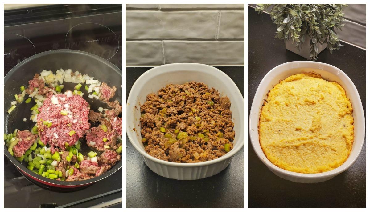 three side-by-side photos of keto shepherd's pie in progress