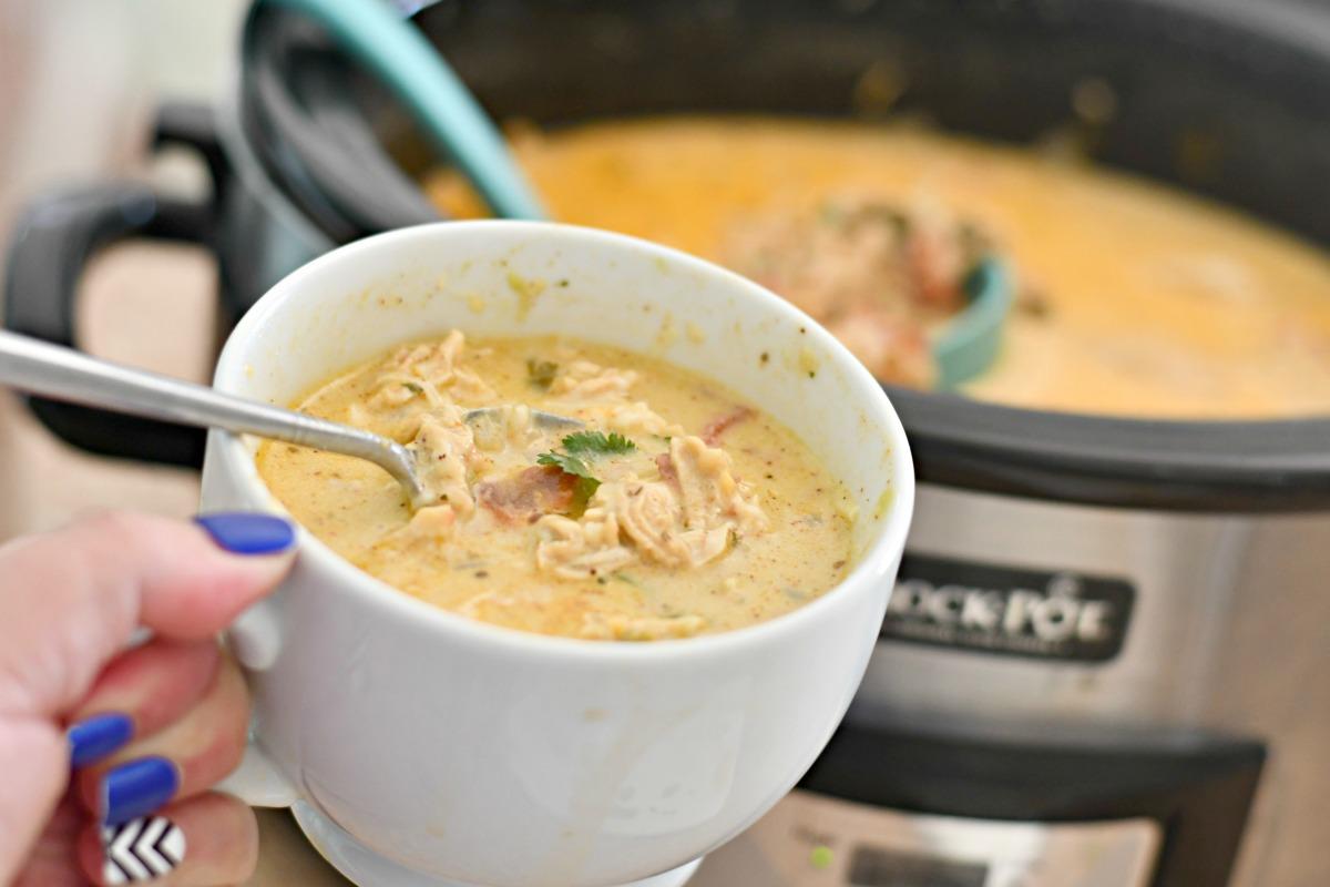soup mug with keto slow cooker chicken salsa soup closeup