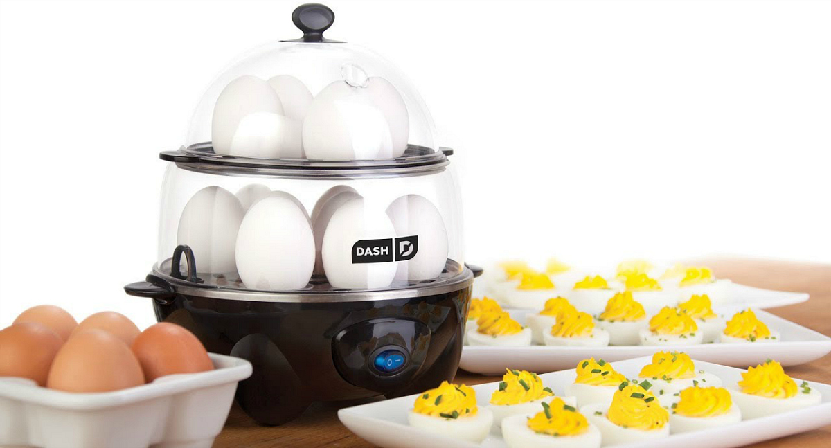 Dash Deluxe Egg Cooker on Amazon next to deviled eggs and uncooked eggs