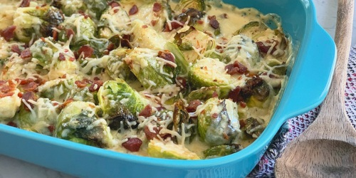 Low-Carb Roasted Brussels Sprouts in Creamy Alfredo Sauce