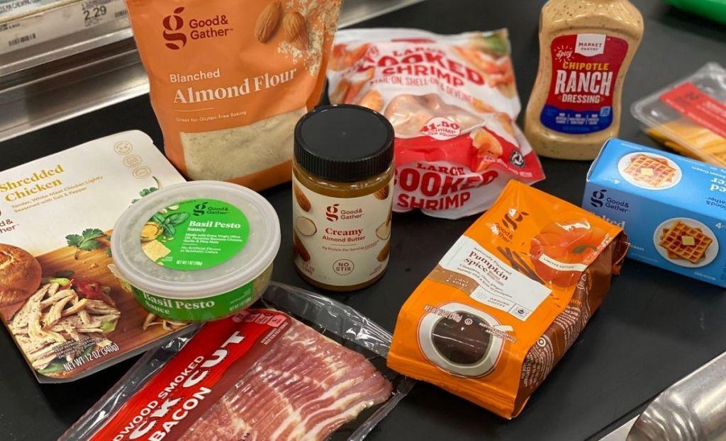 Groceries at a Target register