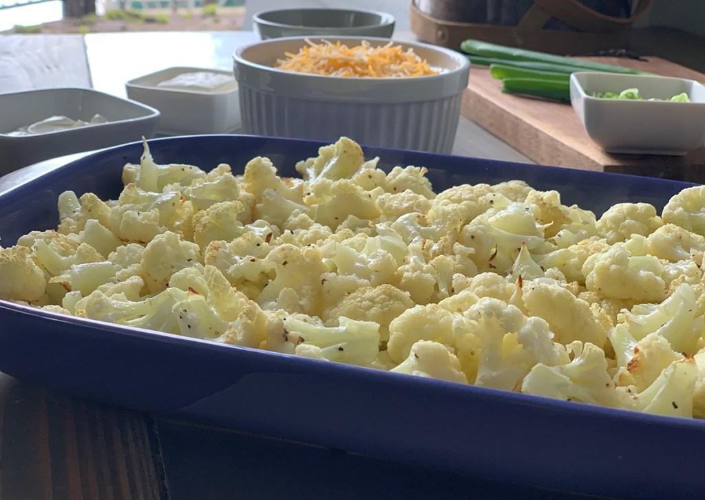cauliflower florets in baking dish