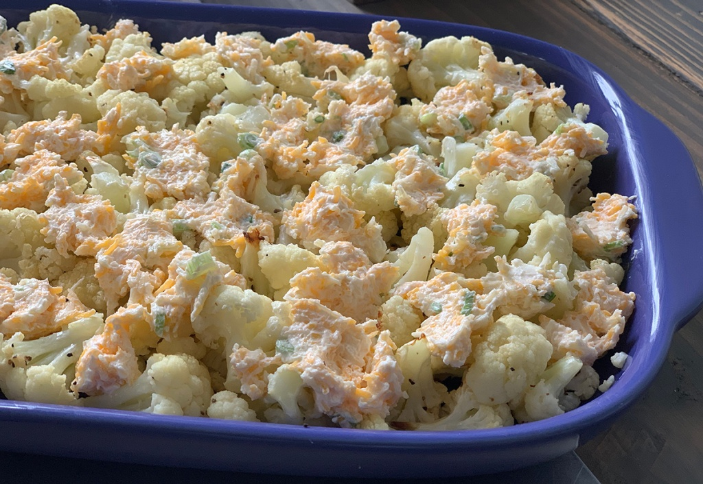 cauliflower casserole in baking dish