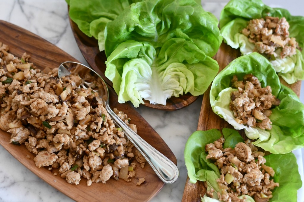 keto lettuce wraps plated on the table