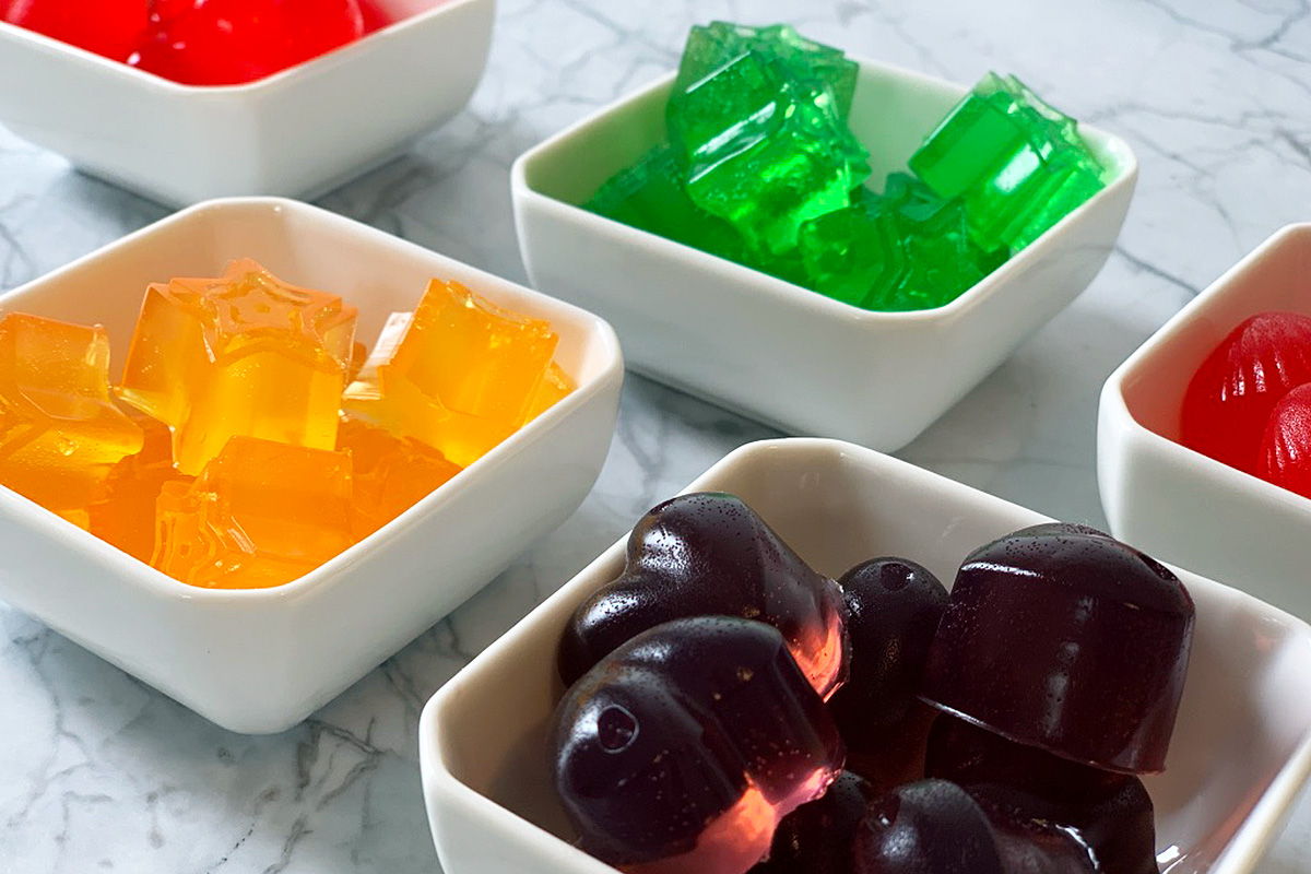 small dishes with a variety of colored jello jigglers
