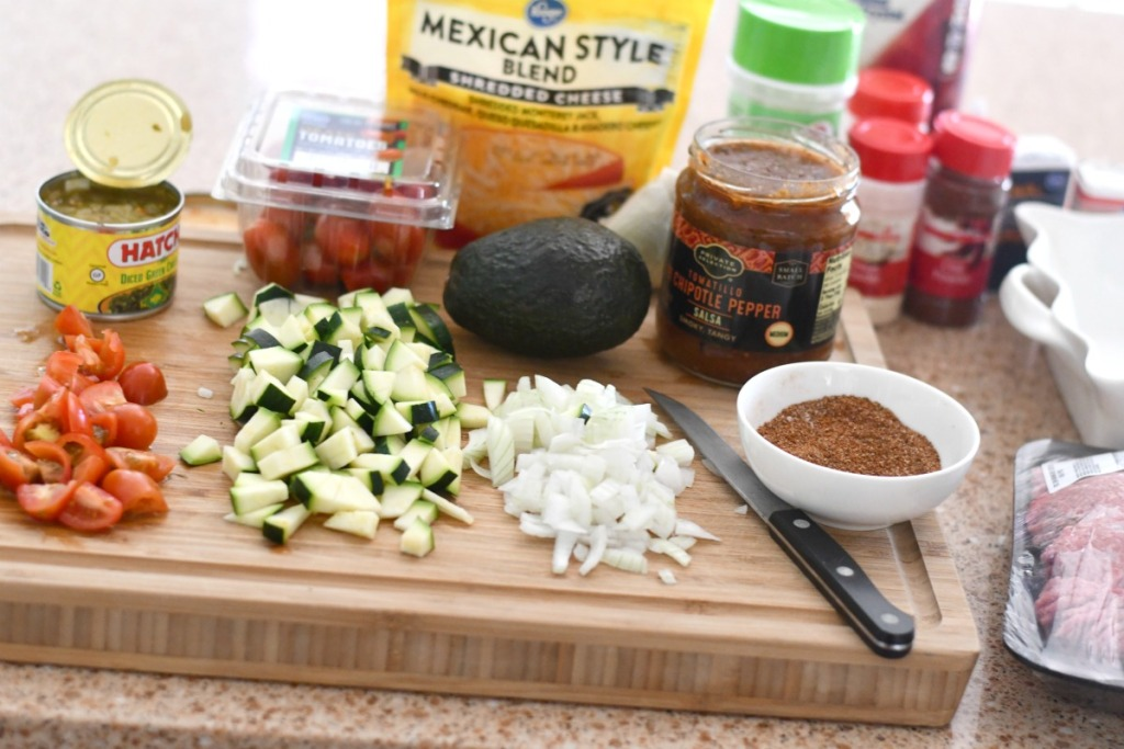 keto tex mex casserole ingredients on the counter