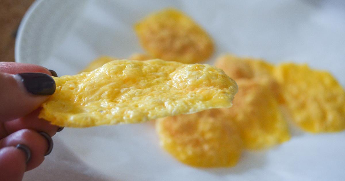 keto chips — microwave cheese crisp