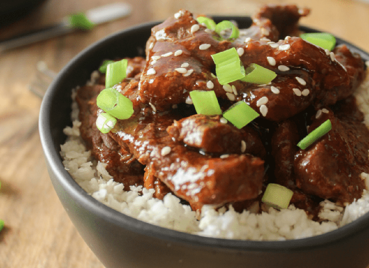 slow cooker mongolian beef from this mom's menu