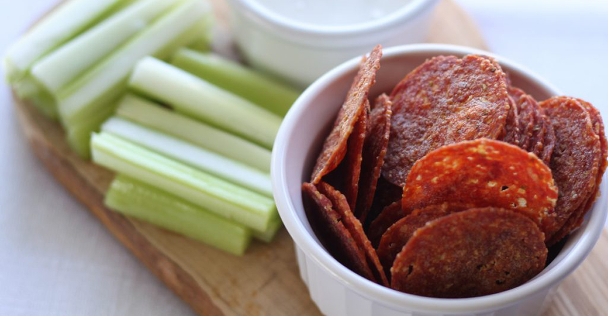 best keto chips recipes — pepperoni chips from Whole Lotta Yum