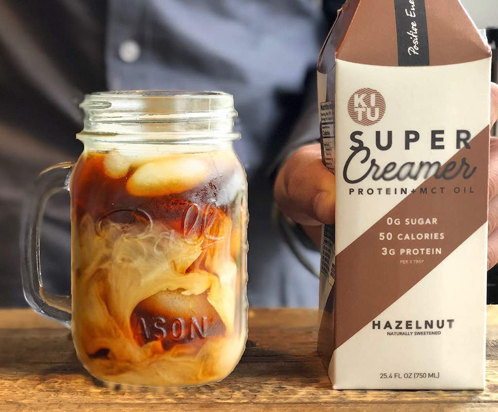 keto super creamer next to jar of iced coffee