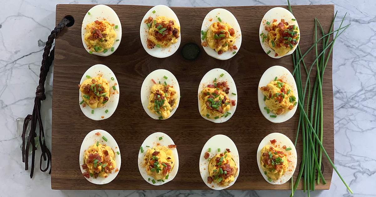 a dozen low carb bacon deviled eggs