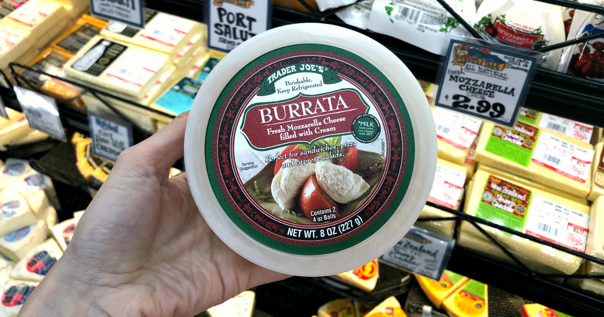 Burrata Fresh Mozzarella Cheese filled with Cream at Trader Joe's