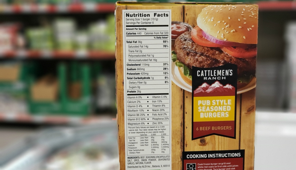 Cattlemen's Ranch burgers nutrition at ALDI
