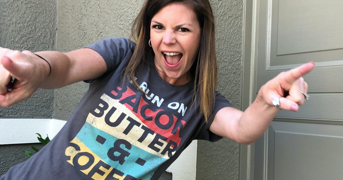 Erica wearing Bacon Butter Coffee Tee