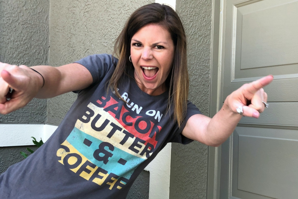 Erica wearing Bacon Butter Coffee Tee