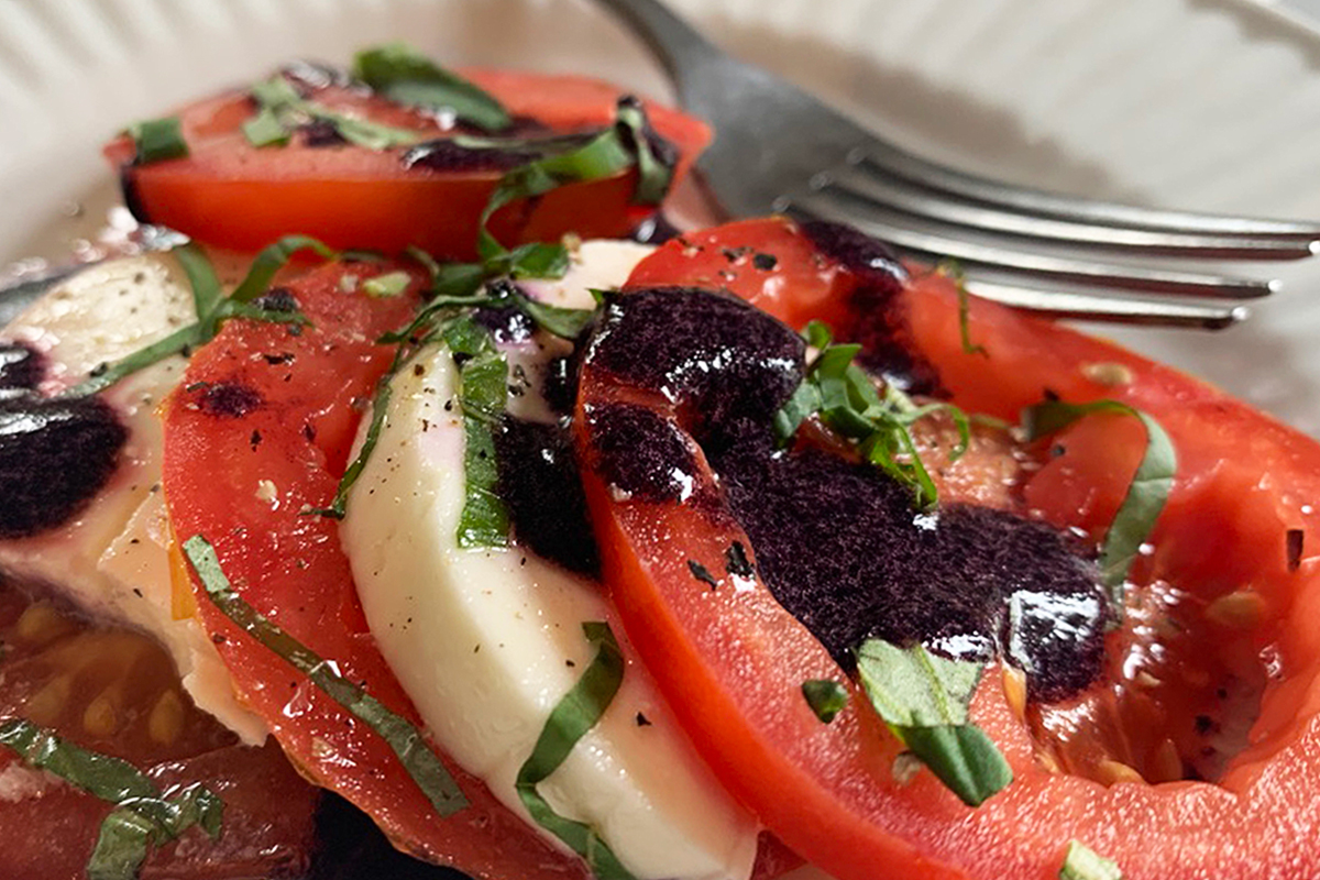 tomatoes and mozzarella with blackberry balsamic glaze