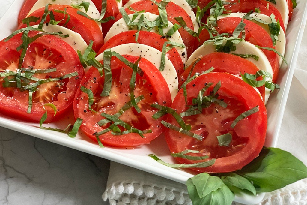 a plate with freshly made Caprese salad best worst vegetables keto diet
